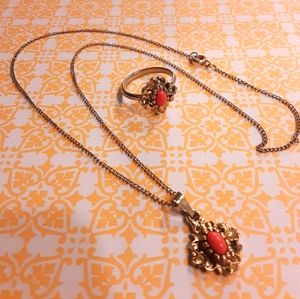 Vintage coral ring and necklace set